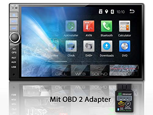 Tristan Auron BT2D7020A Autoradio + OBD 2 Adapter, Android 8.1, 7'' Touchscreen Bildschirm, GPS Navi, Bluetooth Freisprecheinrichtung, Quad Core, USB/SD, OBD 2, DAB, 2 DIN