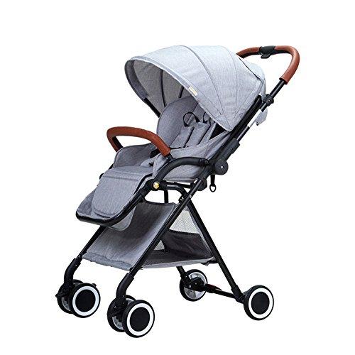 LLX Carrito De Cuatro Ruedas Plegable De Alta Velocidad del Carrito De Bebé Portátil del Paisaje Bidireccional,Grey