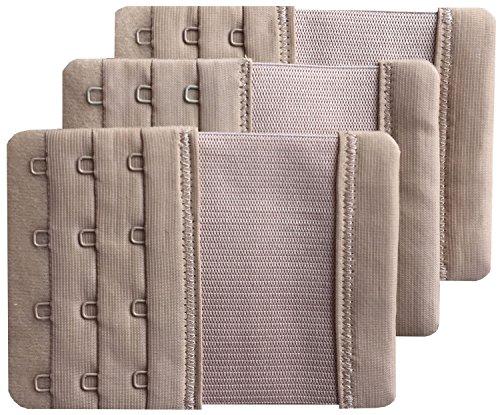 Chanie Damen Packung mit 3 Weich Komfortabel Erweiterung 4 Haken BH-Verlängerer, 10,3cm x 7,6cm