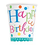 Unique Party 49606 - Paquet de 8 Gobelets en Carton - Confettis de Gâteau d'Anniversaire - 266 ml