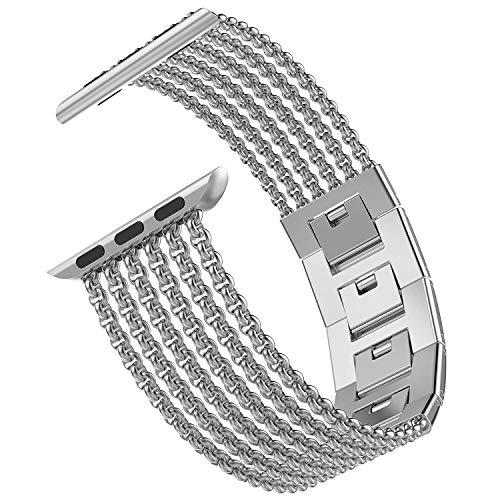 Wearlizer für Apple Watch Armband 38mm 40mm, Edelstahl Metall iWatch Straps Ersatzband Uhrenarmband Wristband Zubehör für Apple Watch Serie 4 / Serie 3 / Serie 2 / Serie 1 - Silber