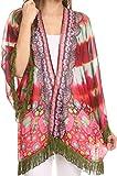 Sakkas KF2503537AT - Kimono Finley Sheer Kimono Top Cardigan Jacke mit Fransen und Design Print - Rot/Multi - OS