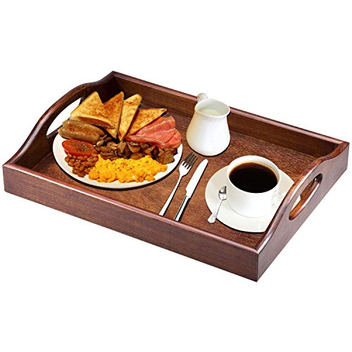 VERSACE DUNN Mahogany rubber wood breakfast tray,500 * 360 * 76 mm,wooden serving tray with plywood