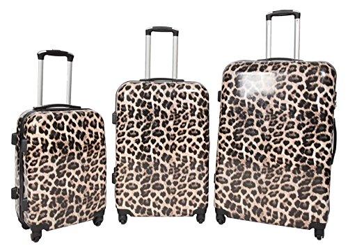 Set von 3 Bedruckten Harte Schale PC 4 Rad Koffer Leichtgewicht Gepäck Nummernschloss Trolley (Leopard)