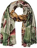 styleBREAKER Damen Schal mit Metallic Blumen Muster und Fransen, Stola, Tuch 01017094, Farbe:Grün-Bordeaux-Curry