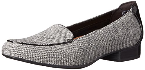 CLARKS Women's Keesha Luca Slip-On Loafer, Black Tweed Combo, 8 2W US (Wolle Combo)