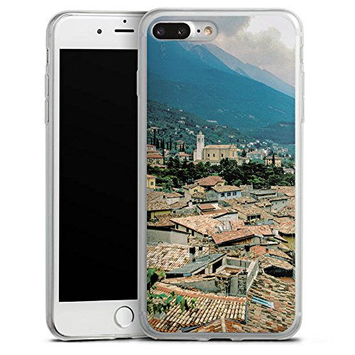 Apple iPhone 8 Plus Slim Case Silikon Hülle Schutzhülle Dächer Stadtpanorama Häuser Silikon Slim Case transparent
