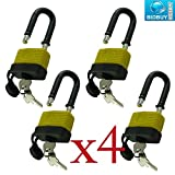 BRAND NEW 4 X LONG SHACKLE WATERPROOF PADLOCK / LOCK MECHANISM - MADE FROM SOLID PLASTIC - WATERPROOF - CAN BE USED IN GARAGE,SHED,LOCKUP OUTDOOR -EACH LOCK WITH TWO KEYS AND KEYS CAN BE COPIED - 50MM SHACKLE