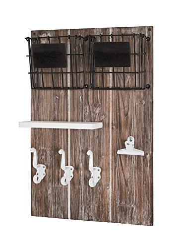 Memoboard aus Massivholz / MDF mit 6 Schlüsselhaken, Körben und Ablage; Maße (B/T/H) in cm: 37 x 9 x 55 - 4