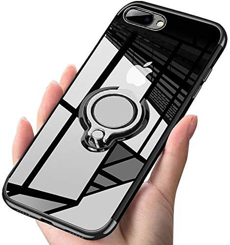 Kadixini iPhone7plus Hülle / iPhone8plus Hülle Soft Silikon Hülle Ultra Dünn TPU Bumper Case 360 Grad Ring Stand Magnetische Autohalterung Schutzhülle für Transparent Anti-Fingerabdruck Anti-Kratzer Video Soft Case