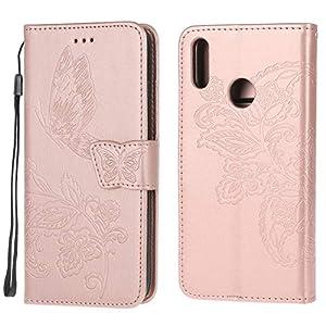 Jorisa Brieftasche Hülle Kompatibel mit Huawei Y7 2019,Geprägt Schmetterling Blume Leder Flip Magnetverschluss Handyhülle mit Kartenfächer Handschlaufe Stand Schutzhülle,Rose Gold