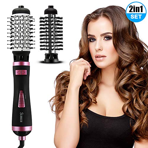 Brosse Soufflante Rotative, 2 In 1 Multi-Fonction Hair Dryer Brush, 3 Vitesses Réglables Rotation Automatique, Négatif Ion Bigoudi Électrique Peigne pour Tous les Cheveux-Rose Noir