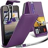 ( Purple ) Huawei Ascend Y330 High Quality Faux Kredit / Debit-Karten-Slot Leder Flip Case Hülle & LCD-Display Schutzfolie & Aluminium In-Ear-Ohrhörer Stereo-Ohrhörer mit Hands Free Mic & On-Off-Taste Einbau by i-Tronixs