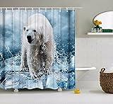 A.Monamour Weißes Eisbär Eis Wasser Spritzen Tier Liebhaber Themed Digitalen Bild Drucken Polyester-Gewebe Wasserdichte Duschvorhang Für Verschiedene Größen Badewannen 180X180 CM / 72X72 Zoll
