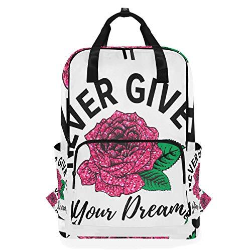 ZOMOY Rucksäcke,Mädchen Glitter Print T Shirt Design,Neue lässige Laptop leichte Tagesrucksack Leinwand College School Travel Umhängetasche Camping Klettern Wandern Taschen -