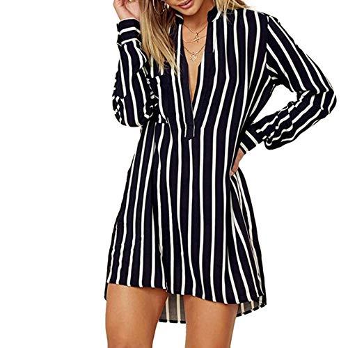 Nyuiuo Damen Bluse V-Ausschnitt Oberteile Streifen Langarm Knopf Hemdbluse Tunika Tops mit Tasche Stripe V Neck Langarm Shirt Bluse Ladies Pocket Shirt Gestreiftes Langarmhemd -