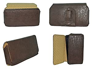 TOTTA Universal PU Leather Belt Pouch For Swipe 9X- BROWN