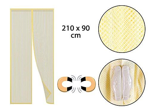 Vetrineinrete® zanzariera magnetica per porte finestre anti zanzara chiusura veloce con calamita tenda trasparente per balconi 210 x 90 cm (gialla) c54