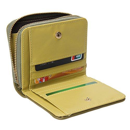 Amazingdeal365 Donne Portafogli Breve Pu Cuoio Femmina Plaid Borse In Gomma Nabuk (Grigio) Verde dell'esercito