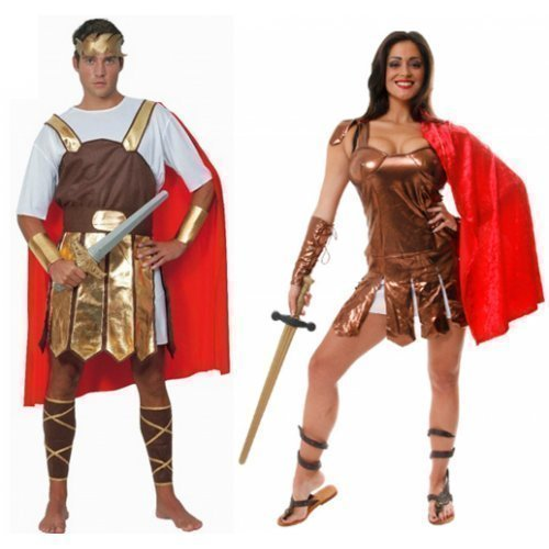 Paar Herren & Damen Römisch Krieger Gladiatoren Griechische Toga Kostüm Verkleidung (Krieger Griechisch Römischer Kostüm)