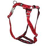 Premium Feltmann Hundegeschirr mit Alu-Max®-Metall-Steckschlössern, Soft-Nylonband rot, schwarze Pfötchen 75-100 cm, 25 mm