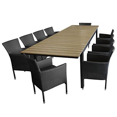 Multistore 2002 11tlg. Sitzgarnitur Sitzgruppe Gartengarnitur Aluminium Polywood Ausziehtisch Gartentisch 280/220x95cm + 10x Stapelsessel Polyrattan - Gartenmöbel Set