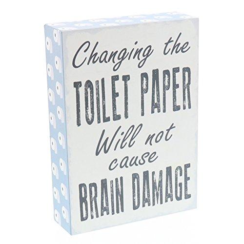 Barnyard Designs Wechseln der WC-Papier Will Not Cause Brain Damage Box Art Wand Zeichen, primitiv Country Farmhouse Badezimmer Home Decor Schild mit Sprüchen 17,8x 12,7cm