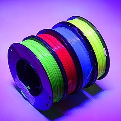 FrontierFila 4 x 250 g Set fluoreszierendes PLA-Filament für 3D-Drucker 1,75 mm