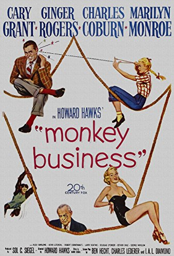 Monkey Business, Cary Grant, Ginger Rogers, Marilyn Monroe, 1952 - Premium-Filmplakat Reprint 28x41 Inch Ungerahmt