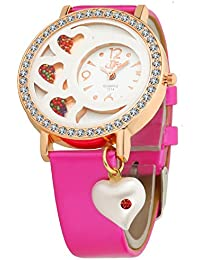 DFA Rose Gold White Heart Dial, Heart Dangle Pink Leather Strap Analogue Watch for Girls -DFa023