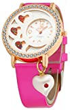 DFa Rose Gold White Heart Dial , Heart Dangle Pink Leather Strap Analogue Watch for Girls -DFa023