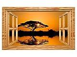3D Wandtattoo Baum Savanne Afrika Fenster Sonnenuntergang Wandbild selbstklebend Wohnzimmer Wand Aufkleber 11E417, Wandbild Größe E:ca. 168cmx98cm