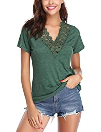 Abollria Camiseta Manga Corta para Mujer Algodón T-Shirt Casual Blusa con Botones Sexy tee Shirt Cuello-V Deportivo Camisa Elasticidad Transpirable Basic Top para Verano
