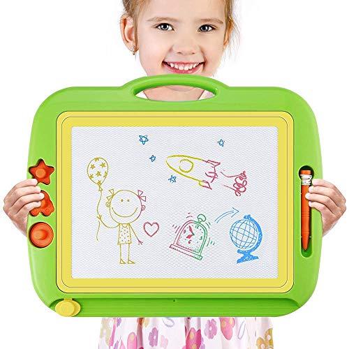 Grande lavagna magnetica per bambini, lavagnetta magica a colori cancellabile con schede schizzo e album,2/3/4 anni tavolo da disegno magnetico giocattoli educativo, portatile - 43x 37cm (verde)