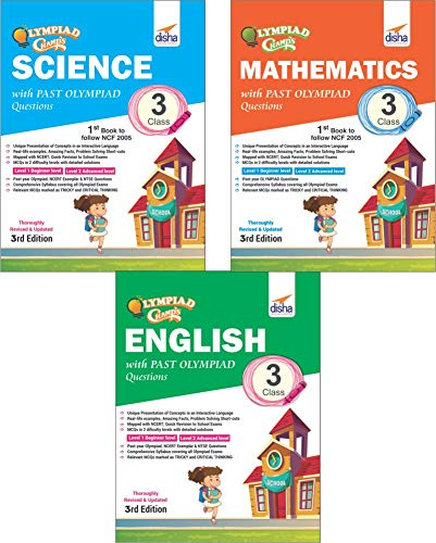 Olympiad Champs Science, Mathematics, English Class 3 with Past Questions (Set of 3 Books)