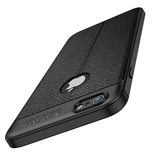 le, iPhone 6s Handyhülle, Premium Schwarz TPU Silikon [Leder Textur Design] Case Cover Kratzfest, Stoßfest, Anti-Scratch Bumper Schutzhülle für iPhone 6 / 6s 4,7 Zoll (Schwarz) ()