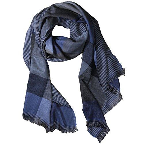 FERETI Bufanda de seda y Pashmina Azul para hombre Doble capa pañuelo muy suave bufanda para hombres 3 en 1 un lado de cuadros grandes el otro lado con cuadros pequeños