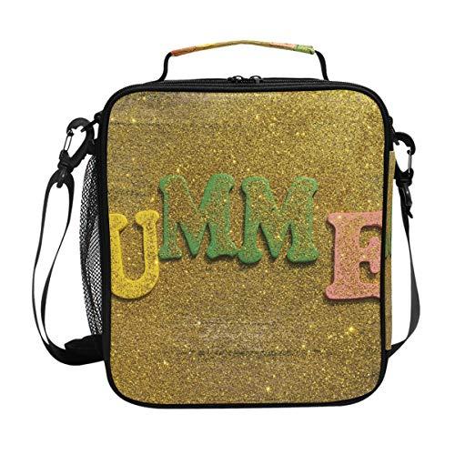 Lunchbox für den Sommer mit goldenem Sandholz, isoliert, quadratisch, tragbar, große Kapazität, für Reisen, Picknick, Schule, Handtasche, Kühler, warme Lunchbox für Kinder, Mädchen, Jungen, Teenager