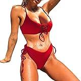 GreatestPAK Frauen einfarbig Band Split Badeanzug Bikini Set Hals Rot L