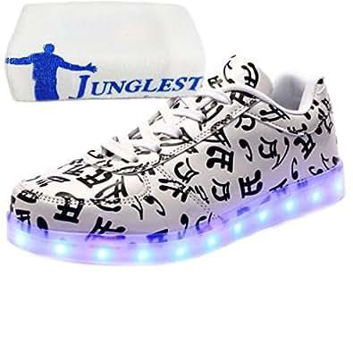 [Present:kleines Handtuch]Schwarz EU 42, Sneaker LED Schuhe USB 7 JUNGLEST® Leuchtend Sportschuhe Farbe Damen Unisex-Erwachsene Aufladen Herren Sport