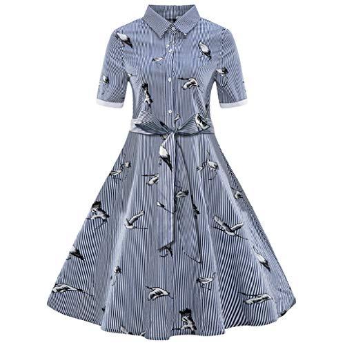 Soupliebe Mode Damen Plus Size Printed Streifen Vintage Gürtel Verband Shirt Swing Dress Abendkleider Cocktailkleid Partykleider (Vintage Mode Und Kostüm Schmuck Verband)