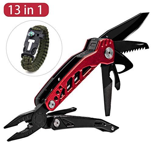 Yidaxing 13 in 1 pinza multiuso, multiuso coltello portabile multi-funzione acciaio inox pacciavite pieghevole pinza cacciavite con fodero da cintura in nylon