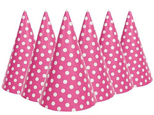 Alsino 6 STK. Polka Dot Papphut Partyhütchen Papier Hut Partyhütchen Geburtstag Party, Variante wählen:P329016 rosa