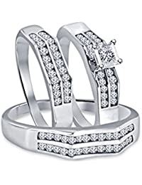 Silvernshine 2.45 Ct Diamond 14k White Gold Finish His & Her Engagement Bridal Trio Ring Set
