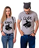 Pärchen Tshirts Couple T-Shirt Partner Shirts für Zwei Paar King Queen Shirt Partner Look t-Shirts Sommer Tops Oberteile 2 stücke(Grau,Clyde-2XL+Bonnie-M)