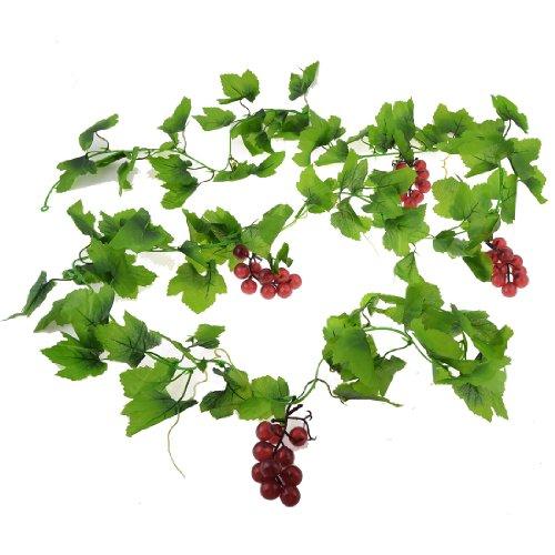 wandbehang-plastik-trauben-weinrot-grne-bltter-wand-ornament-hngende-rebe-24m