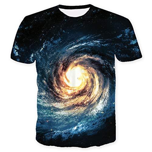 WQWQ Star Print Kurzarmhemd, T-Shirt mit 3D-Persönlichkeit, Sweatshirt Functional Slim Fit für Erwachsene und Kinder 100% Baumwolle X XL XXL,A,XXXL - Kinder-erwachsenen-sweatshirt Mit Rundhalsausschnitt
