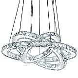 LED Pendelleuchte 3210-357 Luxus Design K9 Kristall chrom drei Ringe Ø 70cm 50cm 30cm 75 W 4500K Energieeffizienzklasse: A+ LED Deckenleuchte Hängeleuchte Hängelampe LED lampe