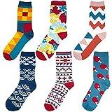 Comius Calcetines Estampados Hombre, Divertidos Patrones Interesantes Diseño Elegante Calcetines de Colores de Moda, Cómodo, Transpirable (6)