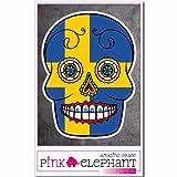 pinkelephant Aufkleber / Autoaufkleber - Schweden - Totenkopf Sugar Skull - 9 x 12 cm - Fahne flag